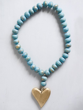 Mango Wood Bead Strand w/ Heart Pendant, Aqua & Gold Finish