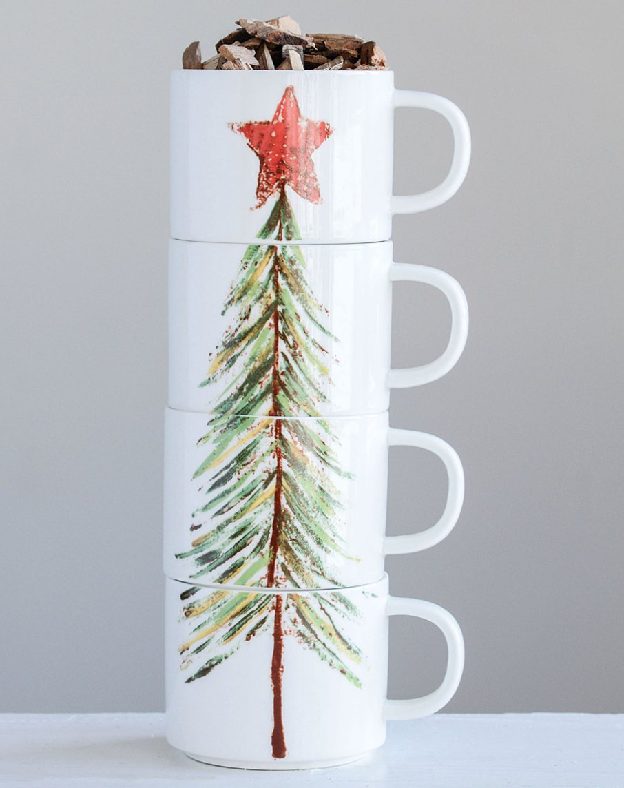Christmas Tree Stoneware Stacked Mugs