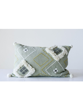 Cotton Woven Embroidered Pillow w/ Fringe & Pom-Poms