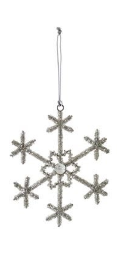 "6"" Round Beaded Snowflake Ornament"