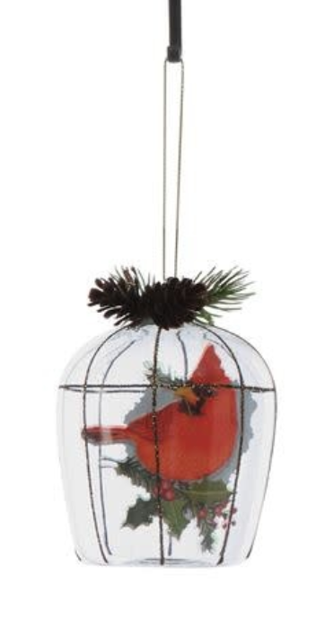 "4""H Glass Birdcage Ornament"