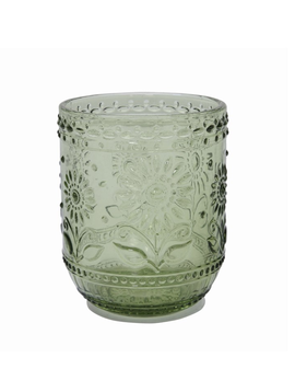 """4""""H 12 oz. Embossed Drinking Glass, Green"""