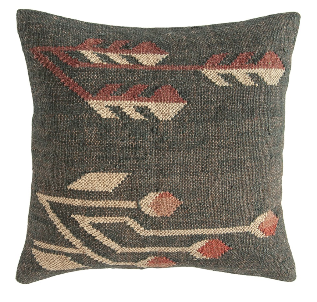 "20"" Square Hand-Woven Jute & Wool Blend Kilim Pillow"