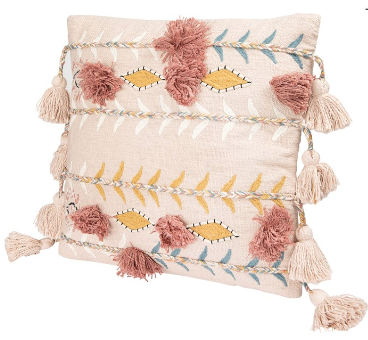 """20"""" Square Cotton Embroidered Pillow w/ Tassels & Applique, Pink"""