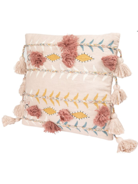 Pink Square Embroidered Pillow w/ Tassels & Applique