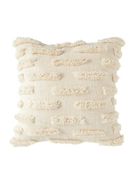 "20"" Square Woven Cotton Pillow w/ Fringe, Natural"