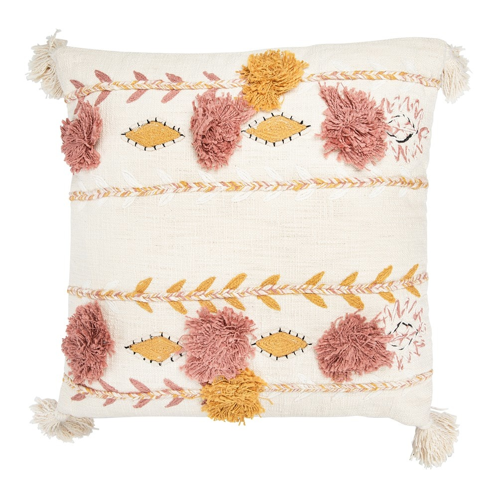 "20"" Square Cotton Embroidered Pillow w/ Tassels & Applique"