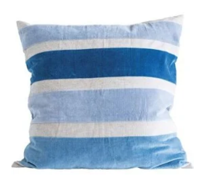 "Bloomingville 26"" Square Cotton Chambray Pillow"