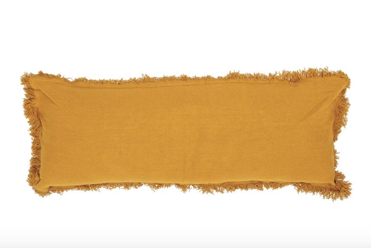 "Bloomingville 36"" x 14"" Cotton Lumbar w/ Fringe Mustard Pillow"