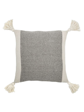 "Bloomingville 18"" Square Cotton Blend Pillow w/ Tassels"