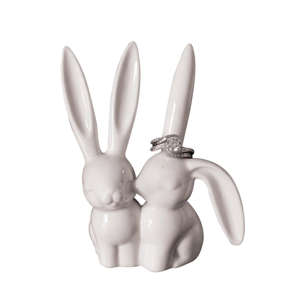 "4""H Ceramic Bunny Ring Holder"