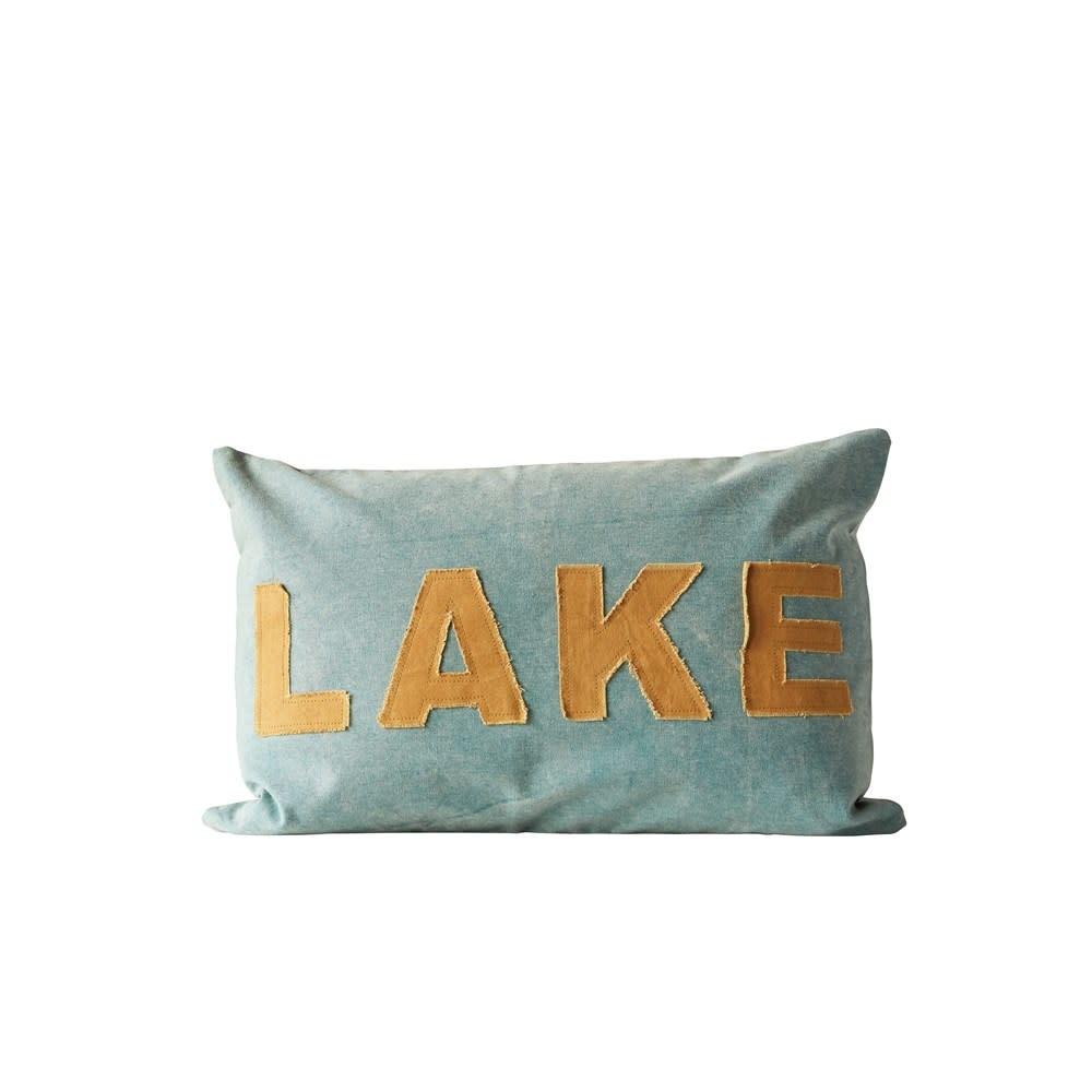 """24""""L x 16""""H Cotton Canvas Appliqued Pillow """"Lake"""""""
