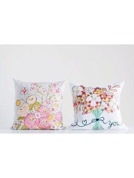 """18"""" Square Cotton Pillow w/ Flower Bouquet"""