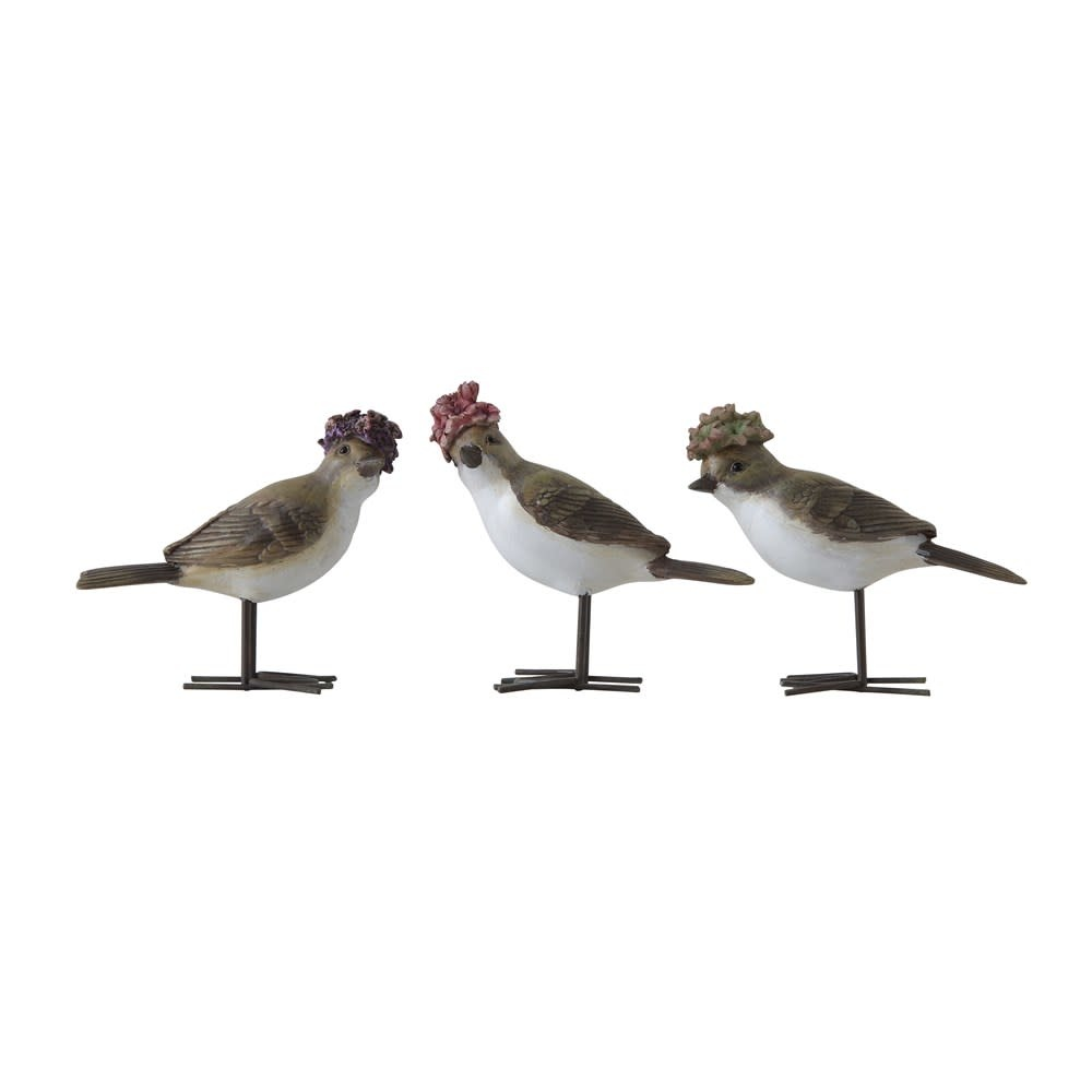 "4-1/4""H Resin Bird w/ Flower Hat & Metal Feet"