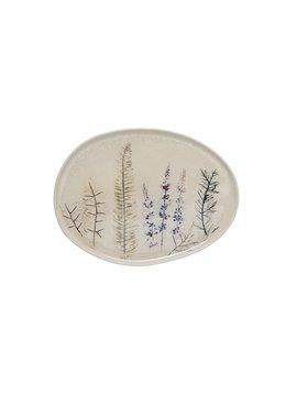 Oval Stoneware Debossed Floral Platter
