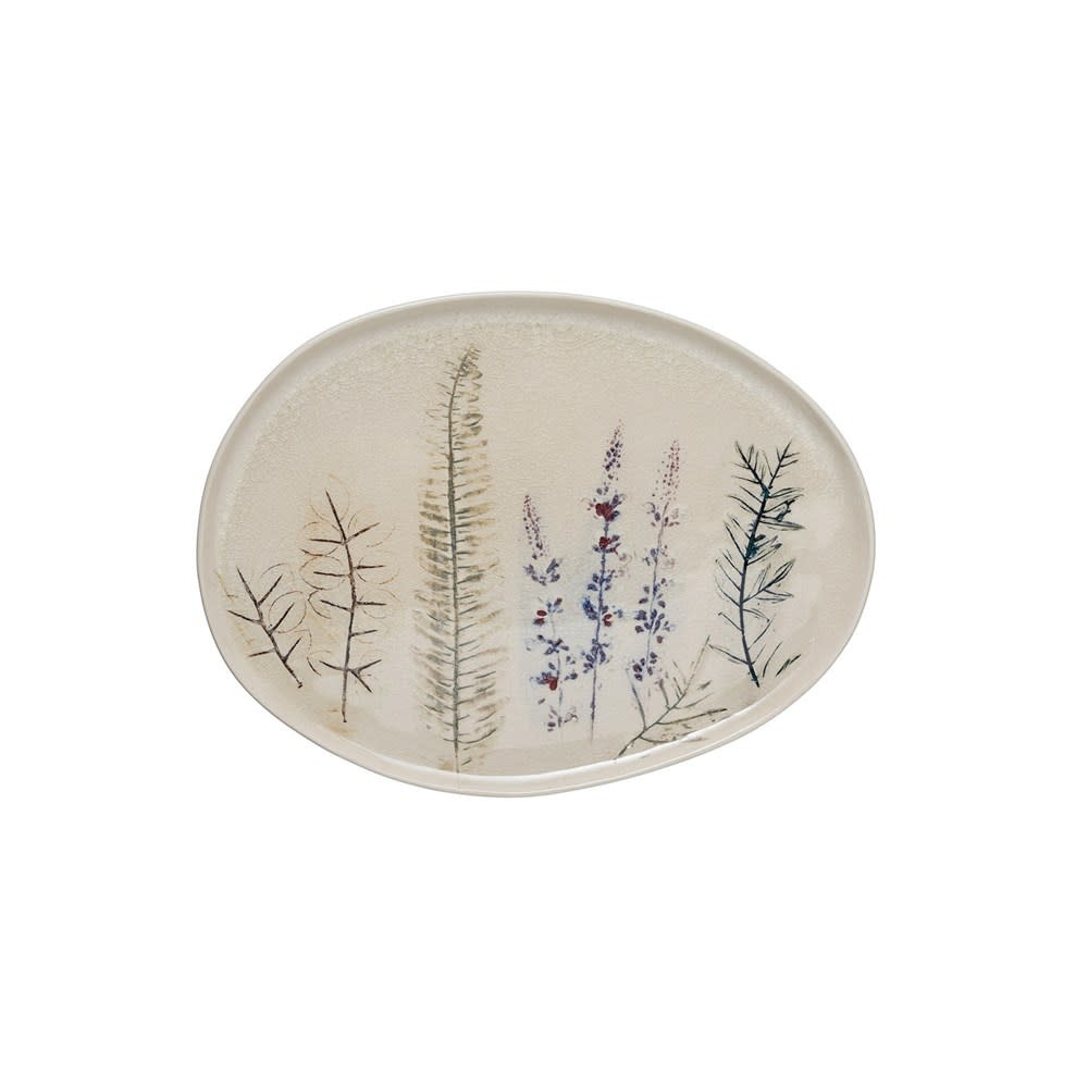 "13-1/2""L x 10-1/4""W Oval Stoneware Debossed Floral Platter"