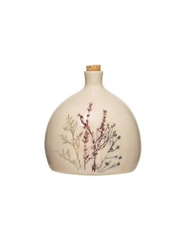 32 oz. Stoneware Debossed Floral Bottle w/ Cork Stopper