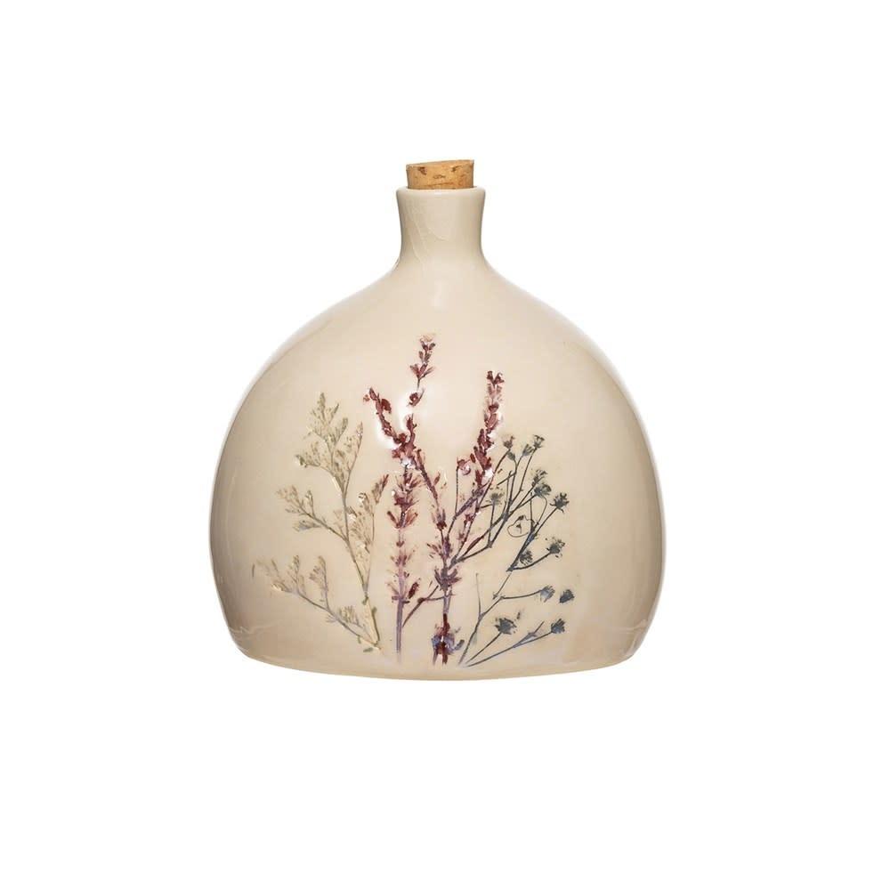 "5-1/4"" Round x 6""H 32 oz. Stoneware Debossed Floral Bottle w/ Cork Stopper"