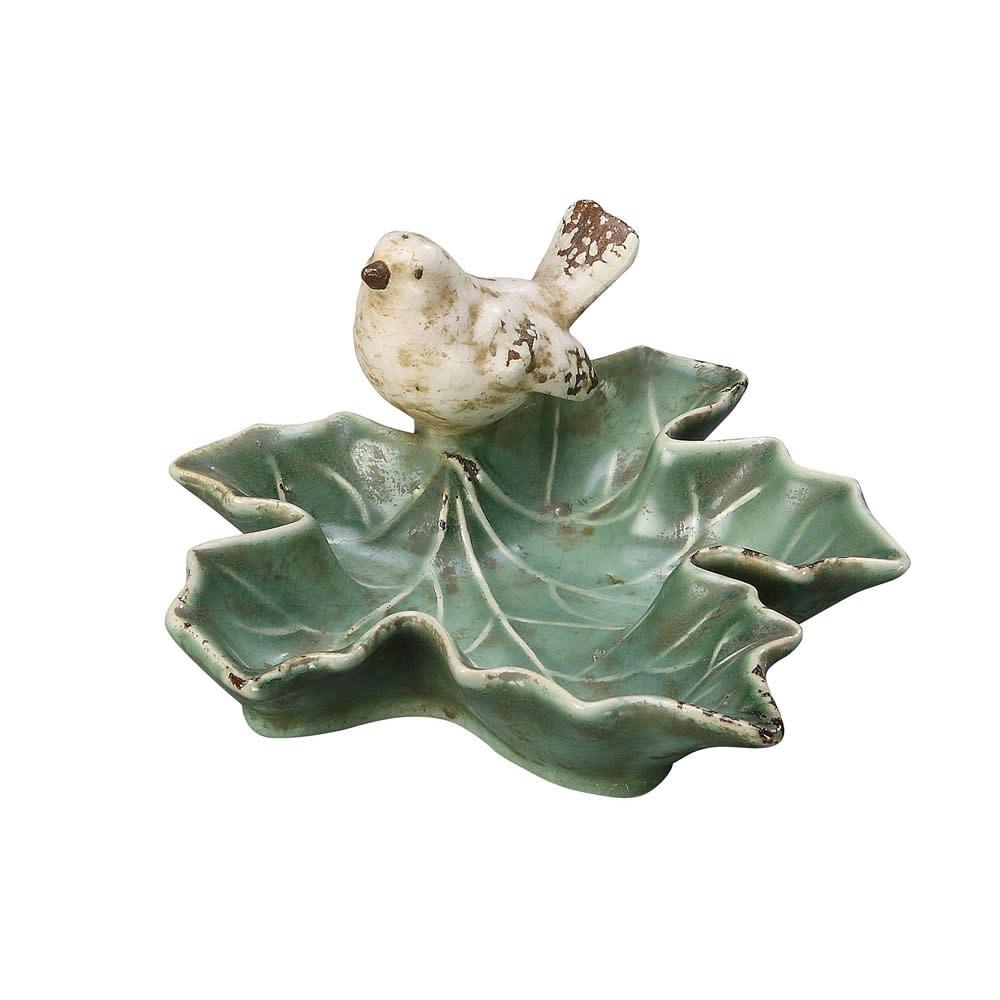 "5-1/2""L Decorative Ceramic Leaf Dish w/ Bird"