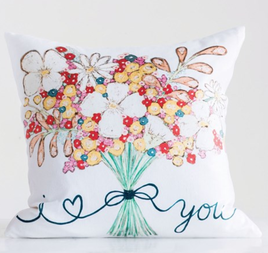 "18"" Square Cotton Pillow w/ Flower Bouquet"