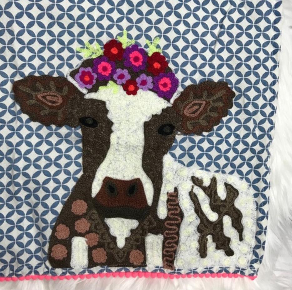 Karma Living Cow In The Farm Tea Towel