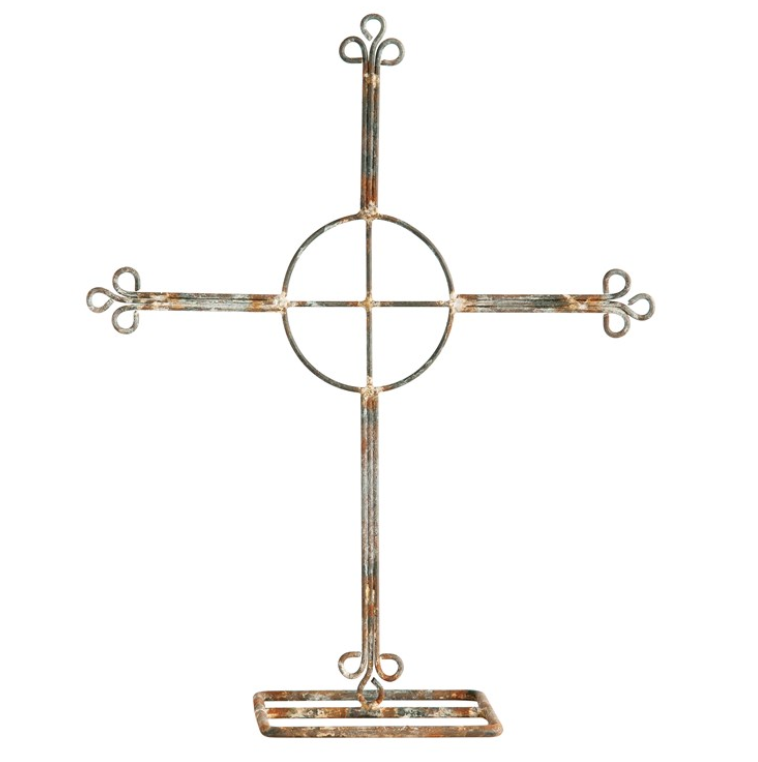 Metal Cross on Stand, Distressed Zinc Finish