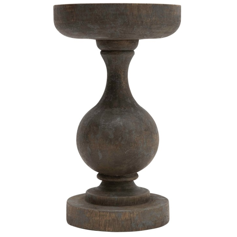 "6"" Round x 10""H Mango Wood Candle Holder, Blackwash Finish"