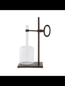 """6""""L x 4-1/2""""W x 12""""H Glass Bottle w/ Metal Stand"""