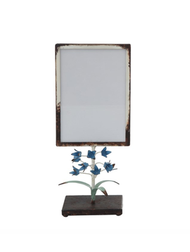 """Metal Photo Frame w/ Tole Flowers on Stand (Holds 5"""" x 7"""" Photo)"""