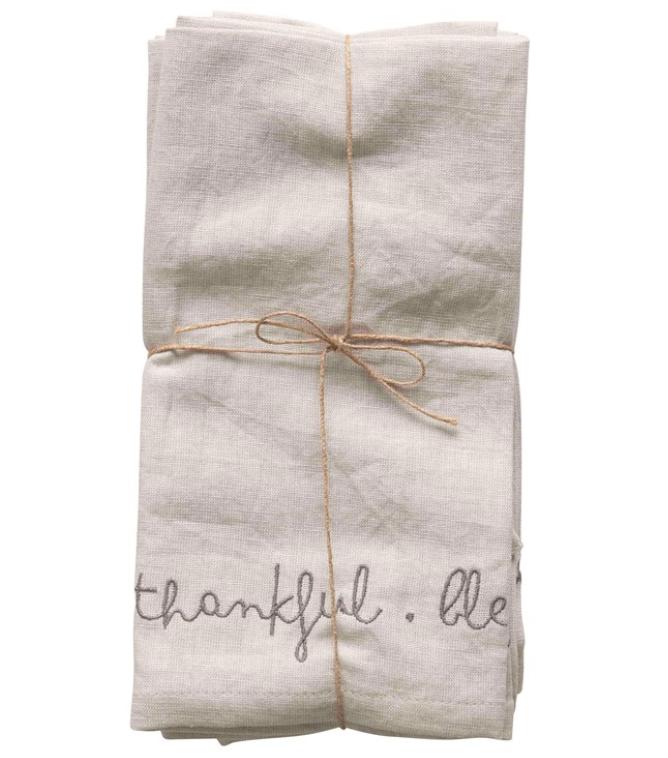 "18"" Square Cotton & Linen Blend Embroidered Napkins"