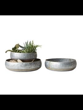 Round Decorative Galvanized Metal Bowl