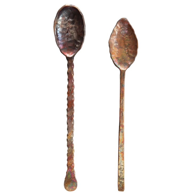 "7""L Hand-Forged Copper Spoons, Burnt Finish, Set of 2 in Drawstring Bag"