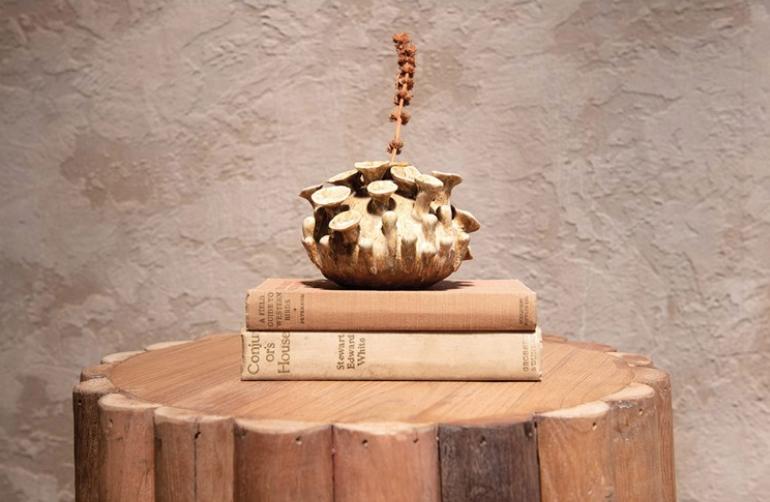 Handmade Stoneware Vase, Reactive Glaze, Ginger Color