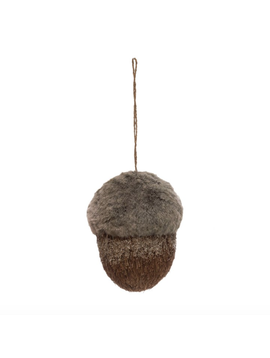"6""H Faux Fur & Sisal Acorn Ornament, Brown"