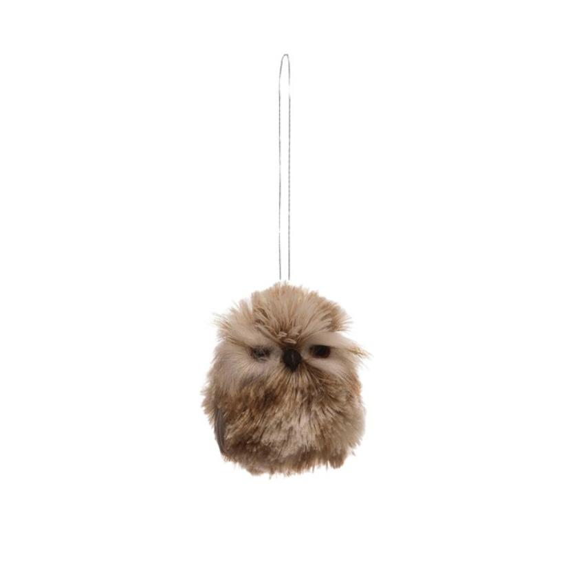 """2-3/4""""H Faux Fur Owl Ornament, Brown"""