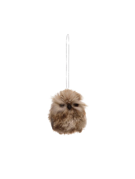 "2-3/4""H Faux Fur Owl Ornament, Brown"