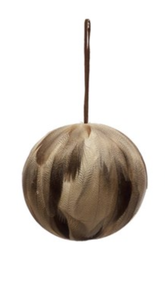 "5"" Round Feather Ball Ornament w/ Leather Hanger"