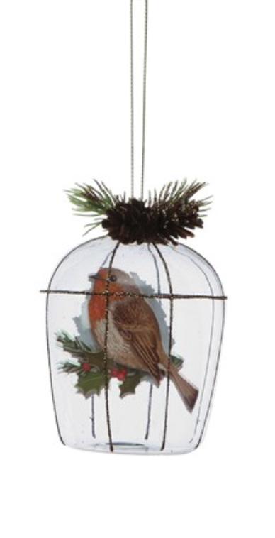 "4""H Glass Birdcage Ornament"