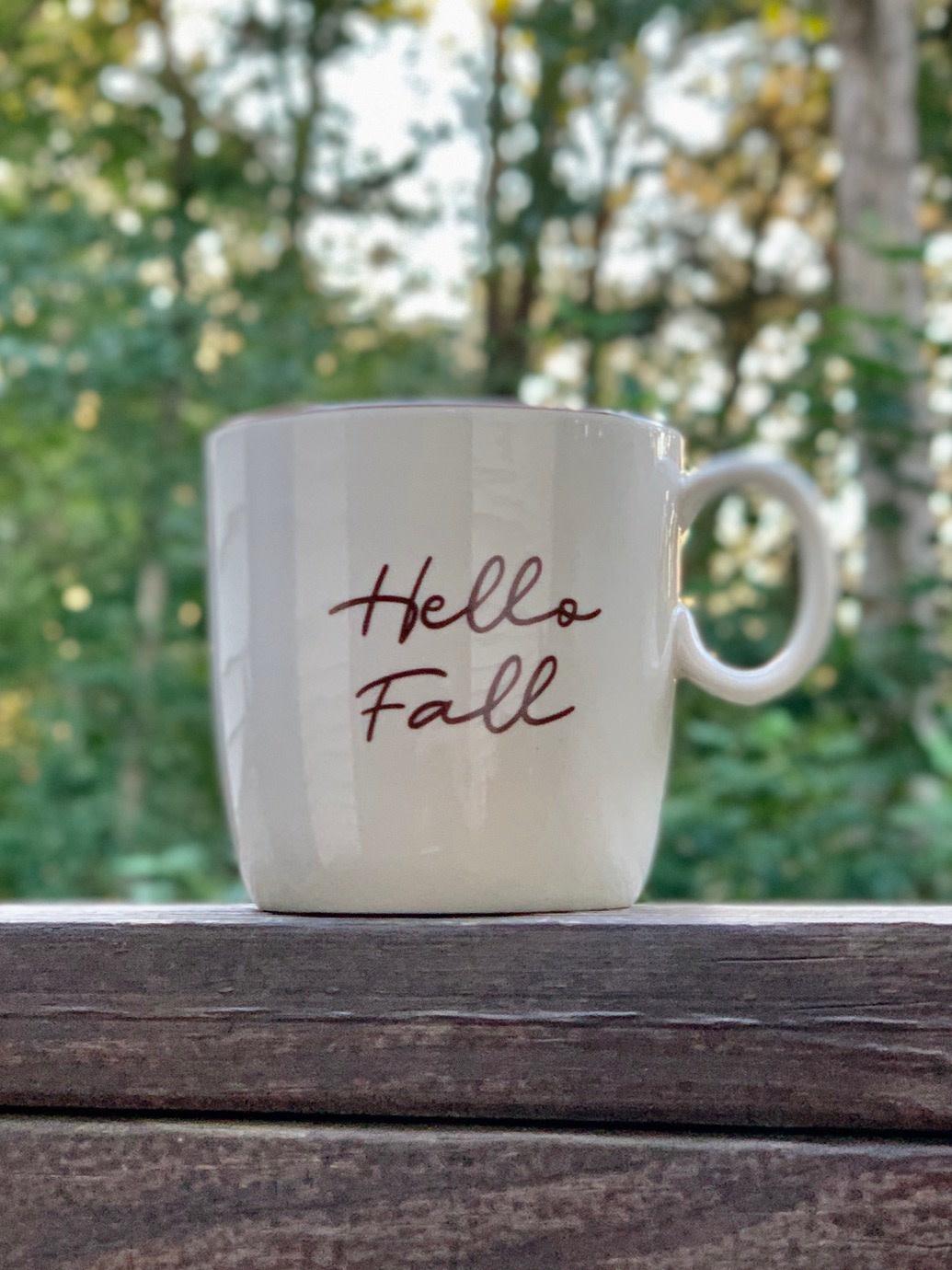 "Stoneware Mug Fall ""Hello Fall"""