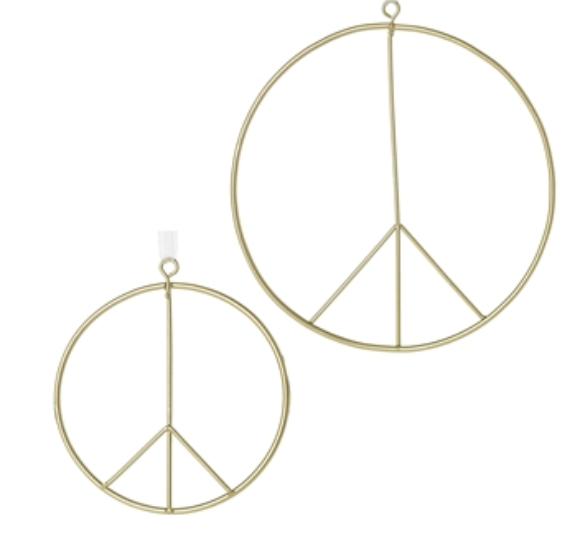 """Accent Decor Peace Sign Ornament 4"""" W/White Ribbon"""