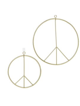 "Accent Decor Peace Sign Ornament 6"" W White Ribbon"