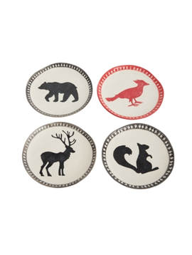 Accent Decor Bear, Squirrel, Deer, Bird Plate Set of 4