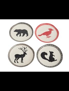 Accent Decor Bear, Squirrel, Deer, Bird Plate Set of 4