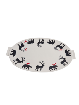 "Accent Decor Bear, Deer, Bird Platter 20""x12"""