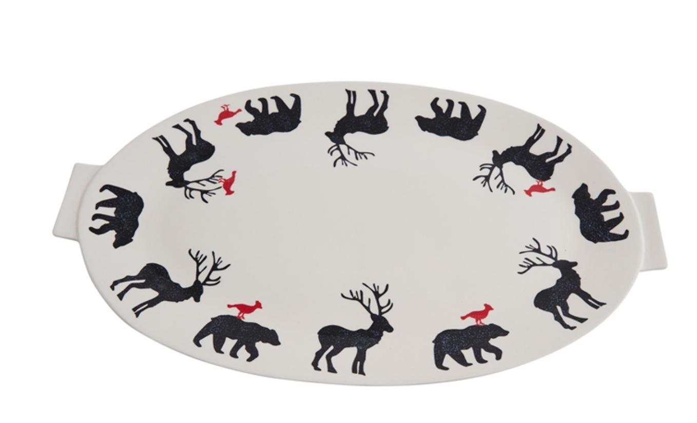 """Accent Decor Bear, Deer, Bird Platter 20""""x12"""""""
