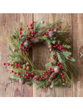 Jingle Berry Evergreen Wreath 18""