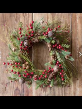 "Jingle Berry Evergreen Wreath 18"""