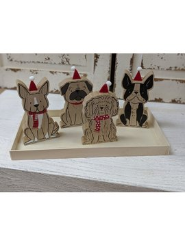 Accent Decor Santas Helpers Wood Animal w Xmas Hats in Tray