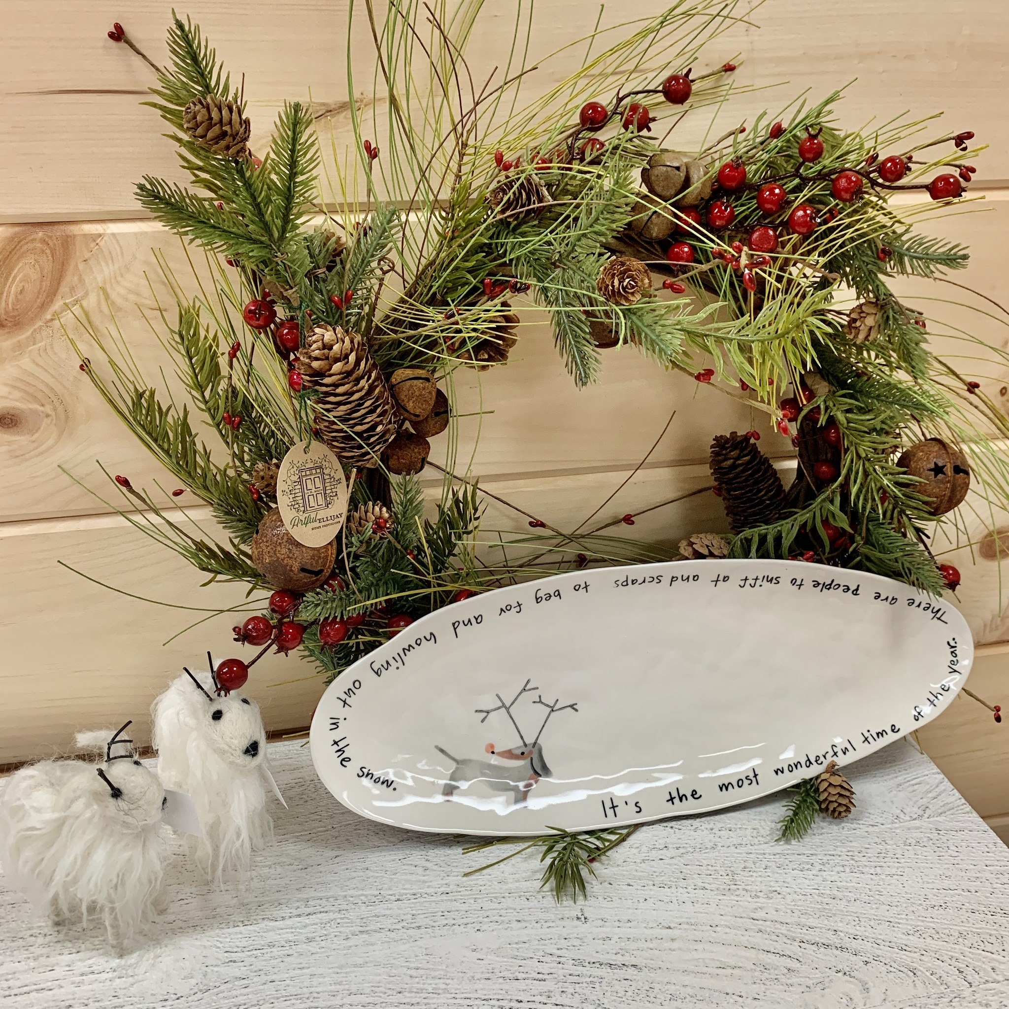 "Accent Decor Dog/Rudolph Christmas Platter 16""x6"""