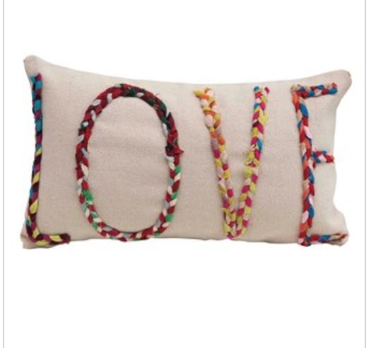 """LOVE"" Cotton Pillow 24""x14"""
